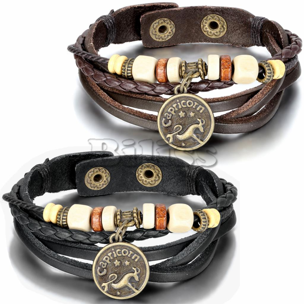2015 Vintage Multilayer Braided Constellation Capricorn Charms Bracelets Bohemia Wristband Cuff Leather Bracelet For Women Men(China (Mainland))