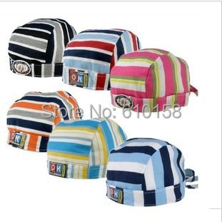 Free ship!2015 Spring Autumn 100% cotton baby pirate hat ,fashion stripe turban cap children elastic lacing beanie baby caps
