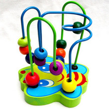1PC educational toys new wooden educational Toys Round Bead Toy Animals Small Round Bead Mini Track Maze Wooden Cartoon Kids Toy(China (Mainland))