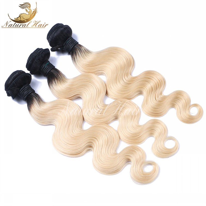 8A Brazilian 1b/613 colored two tone hair weave 3pcs/lot  613 blonde virgin hair dark roots ombre 613 human hair free shipping