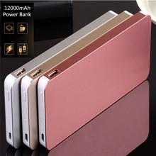 High Quality Slim Powerbank 12000mAh External Battery Dual USB Alloy Shell Portable Charger Power Bank Free Shipping