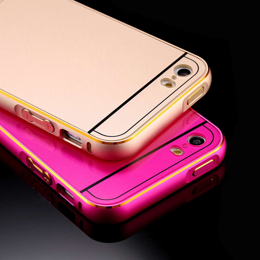 Ultra Thin 0.5mm Dual Hybrid Luxury Aviation Aluminum Metal Frame + PC Back Cover 2 in 1 Phone Case for iPhone 5 5s 5G With Logo(China (Mainland))