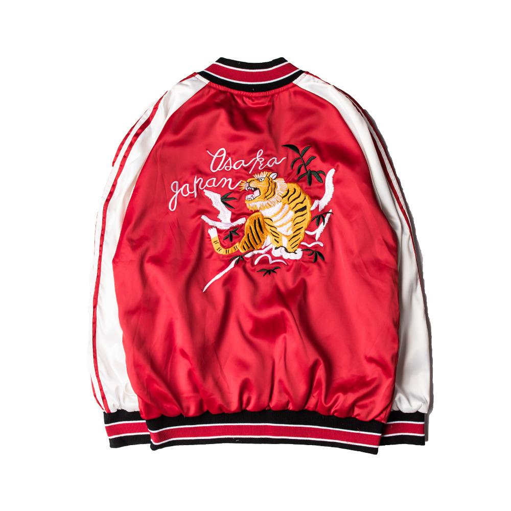 Harajuku Street style 2016 spring autumn jacket women man fashion Red Satin embroidery tiger Baseball uniform bomber jacket coat(China (Mainland))