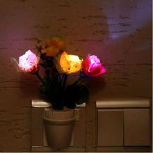 New Arrival Home Colorful Romantic Rose Flower Vase LED Wall Lamp Plug-in Night Light Home Party Decoration Retail(China (Mainland))