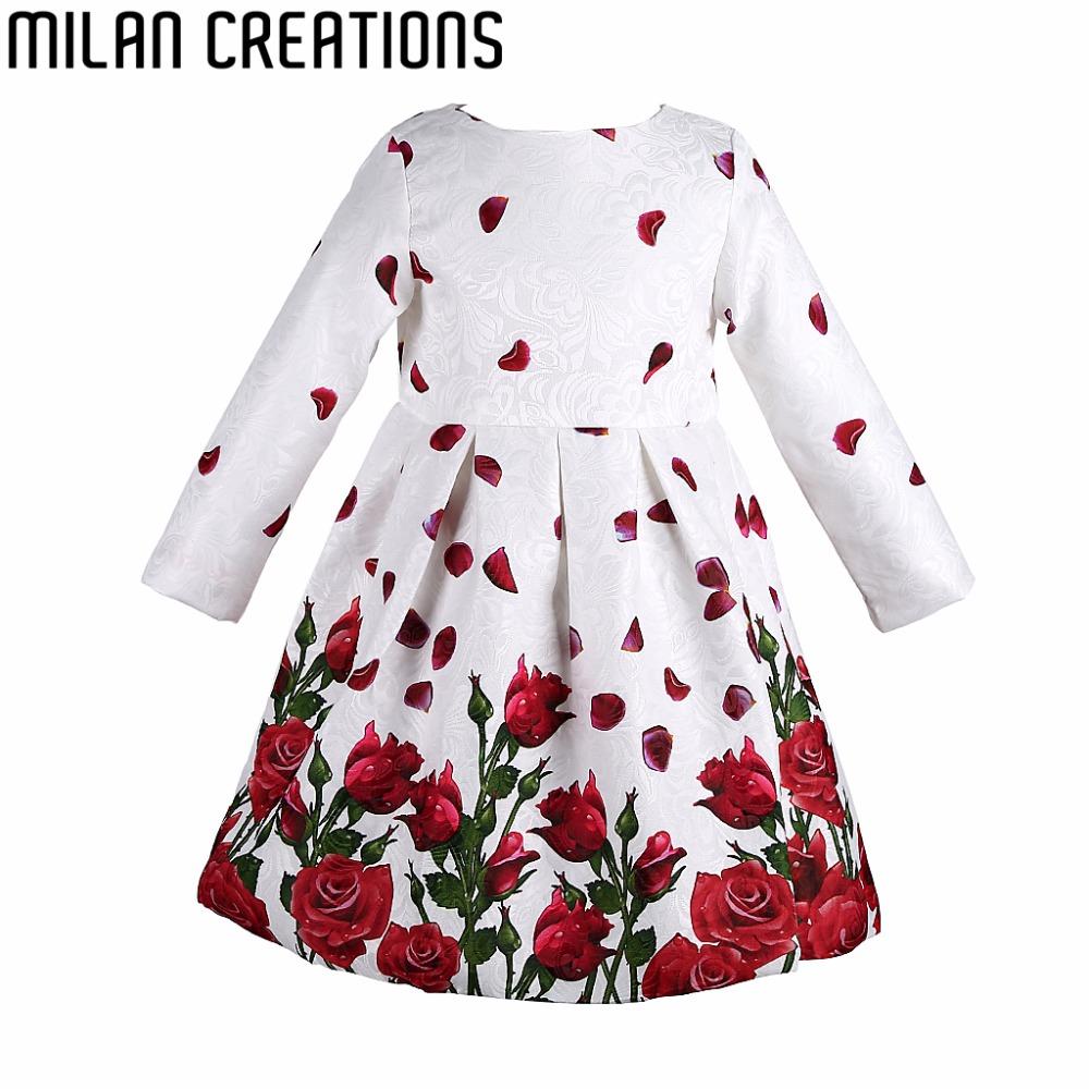 Milan Creations Girl Dress Long Sleeve 2016 Brand Princess Dress Girls Clothes Rose Flower Kids Dresses for Girls Costumes(China (Mainland))