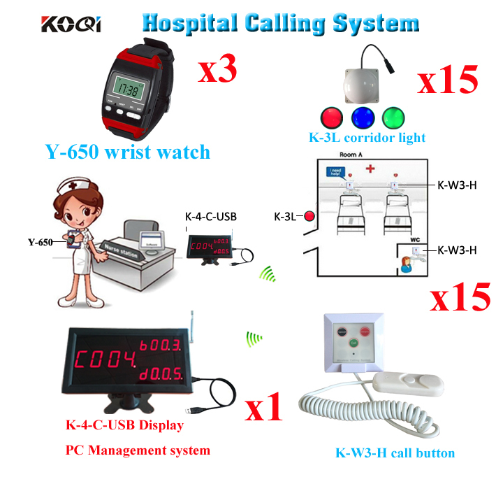 Wireless Nurse Call System Medical Emergency Service Call 1pcs K-4-C-USB 3 Watch 15 Corridor Light 15pcs Calling Button(China (Mainland))