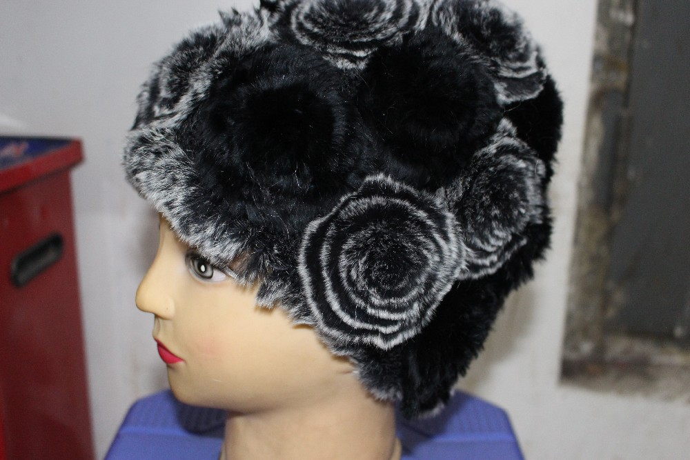 Rex rabbit hair fashion rose dome thermal ear fur hat female winter