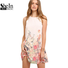 SheIn Ladies New Arrival Multicolor Sleeveless Flower Print Boho Dresses Womens Summer Round Neck Cut Out Cute Shift Dress(China (Mainland))