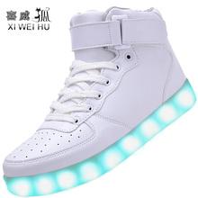 XIWEIHU Unisex Women & Men USB Charging High Top Luminous LED Light Shoes 7 Colors Flashing Casual Light up Shoes for Adult