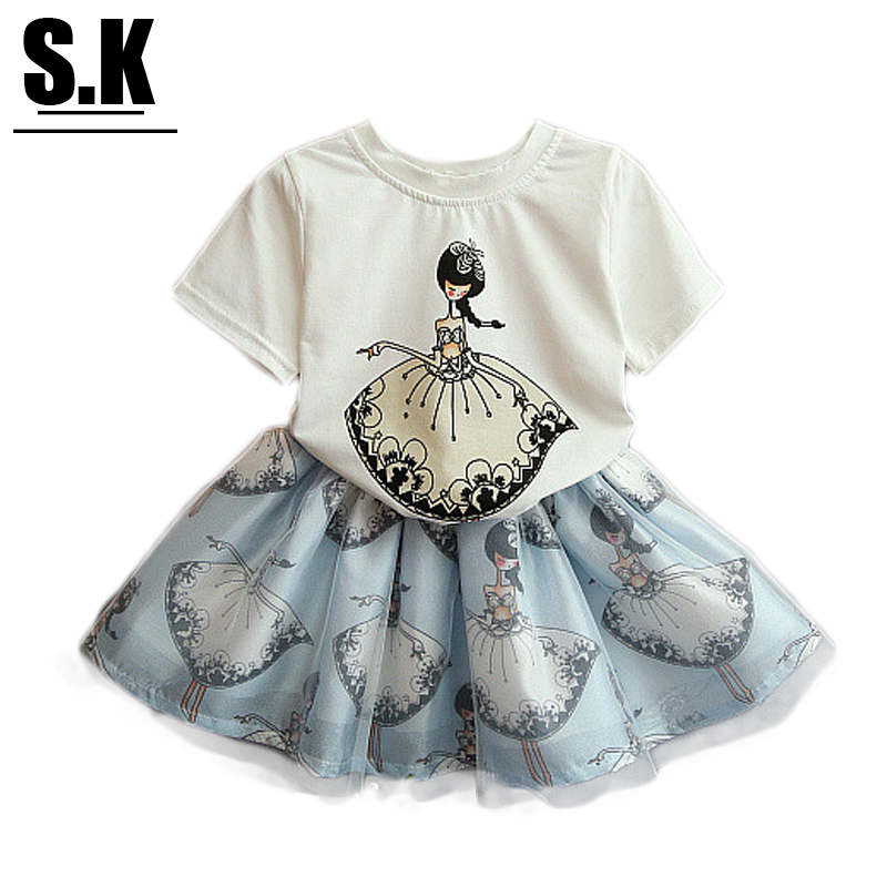 Sunshine Kid Brand Girls Outwear 2016 Summer Girls Clothes Printing T-shirt+Lace Skirt Clothing Sets Fashion Suit for Girls(China (Mainland))
