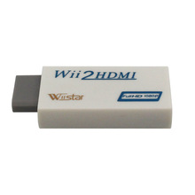 New hot selling for Wii to HDMI Wii2HDMI Adapter Converter Full HD 1080P Output Upscaling + 3.5mm Audio Box Free shipping