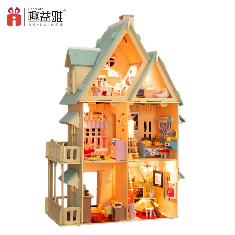 Home Decoration Crafts DIY Doll House large Wooden Dolls House 3D Miniature Model Kit  dollhouse Furniture Room LED Light 13004<br><br>Aliexpress