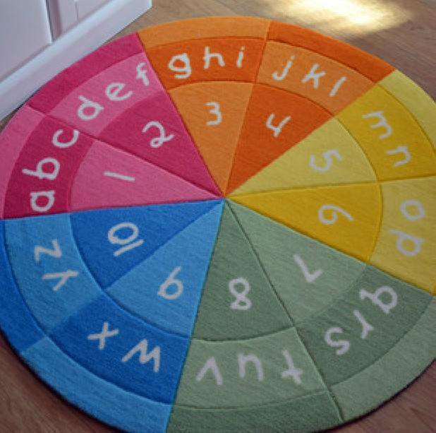 2015 rainbow colors alphabet figure round area rug for Round rugs for kids