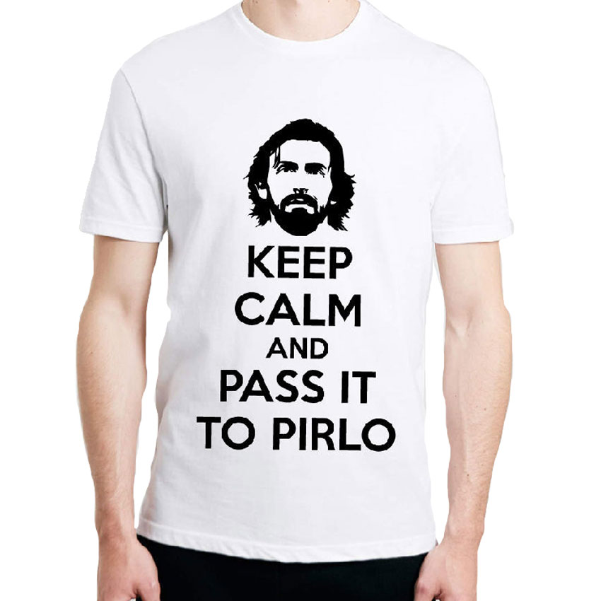 KEEP CALM AND PASS IT TO PIRLO PRINTED TSHIRT FUNNY FOOTBALL ITALY JUVENTUS Shirts Cotton Short Sleeve Round Neck Tops Tees(China (Mainland))