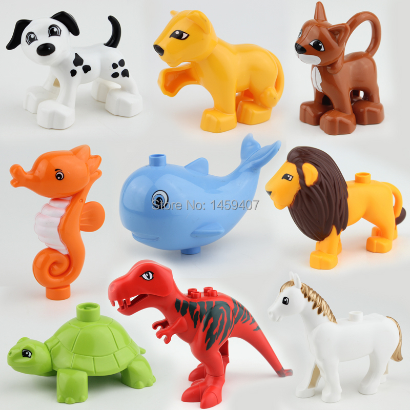 New original 10pcs/lot Duplo Animals Figures Building Block Sets Anime Model Figure toys for children(China (Mainland))