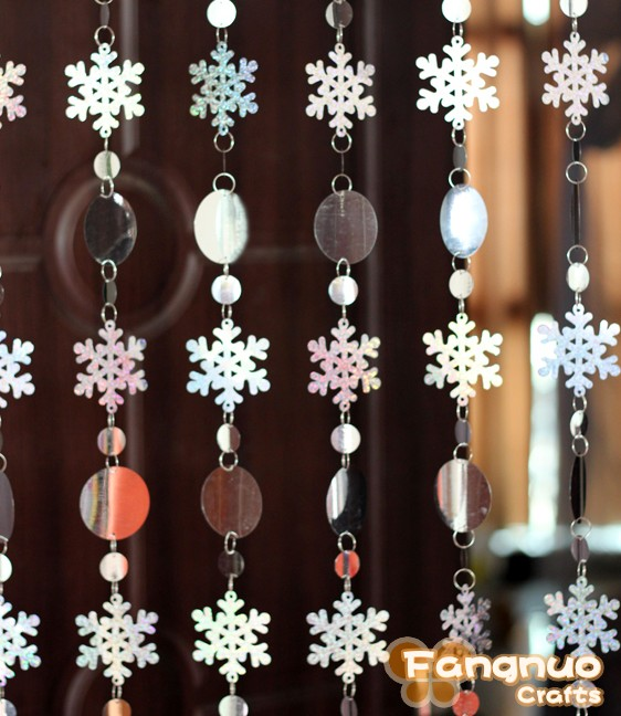 Free shipping, Christmas decoration curtain, big snowflakes laser sequins, PVC glitter sequins curtain Christmas tree ornaments(China (Mainland))