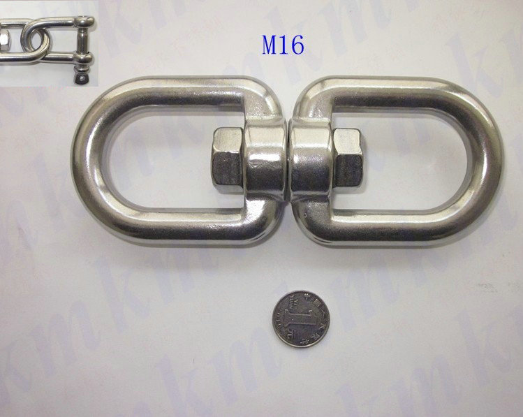 Free shipping wholesales rigging marine hardware stainless steel M16 double eye and eye regular G402 chain swivels(China (Mainland))