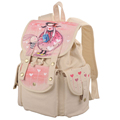Preppy Style Cartoon Girl Print Backpack Women Fashion Drawstring Flap Canvas Bag Durable Practical Ladies School