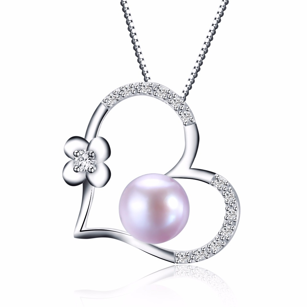 Lowest Price Pearl Necklace Love Shape Pendant AAAA High Quality Platinum Plated Gift For Women 9-10mm Pearl Jewelry collier(China (Mainland))