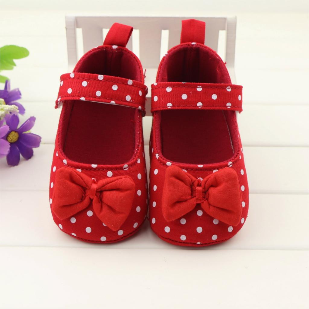 6pairs/lot wholesale 2015 new arrivals fashion baby girls red polka dot first walkers infant bebe toddler shoes free shipping(China (Mainland))