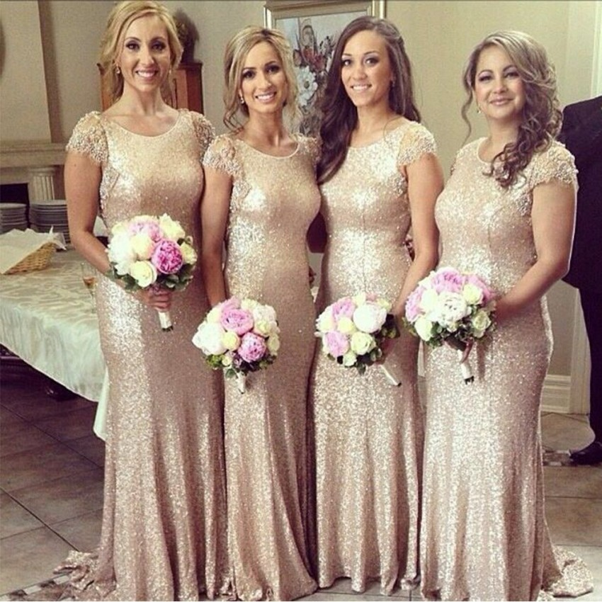 Gold sequin bridesmaid dress 2015 sexy high collar lace for Gold sequin wedding dress