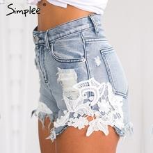 Simplee 2016 ripped pocket women shorts Summer casual denim shorts vintage hot shorts denim shorts for women(China (Mainland))