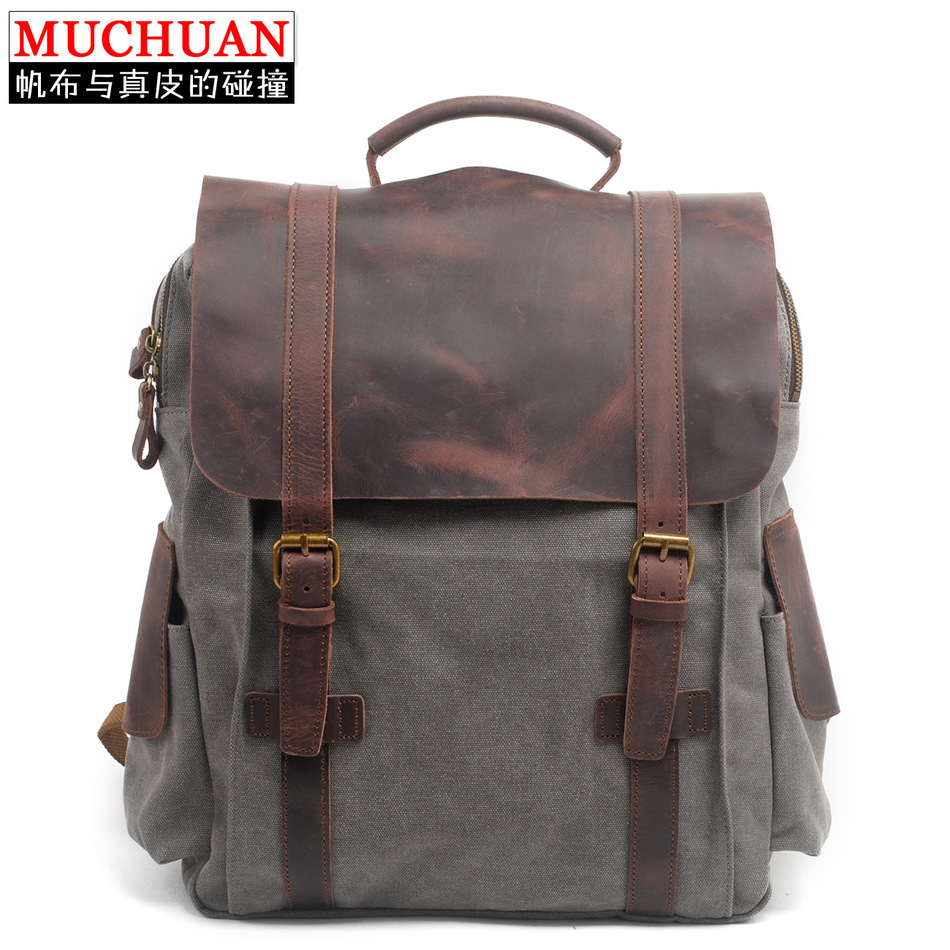 Muchuan Both Package Restore Ancient Ways England School Wind Backpack Canvas Bag Package A Bag Han Banchao Package Male Bag(China (Mainland))