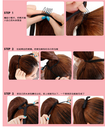 Hot Sell  Womens Hairpiece Short Wavy Curly Claw Hair Ponytail Clip on Hair Extensions Ponytails