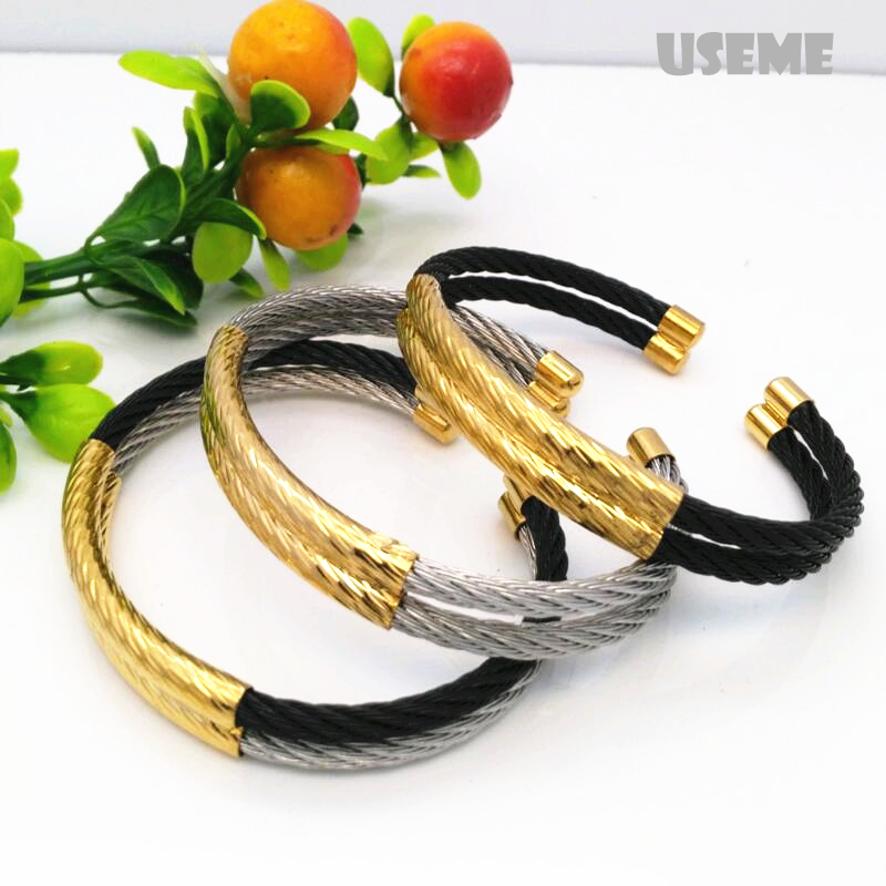 Full Wire Men Charm Cabo Bracelet Cable Acier Men Bangles High Quality Titanium Steel New Men Fashion Jewelry(China (Mainland))
