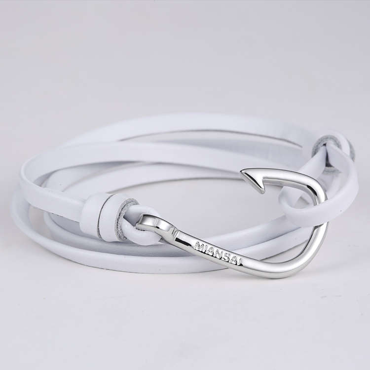 Miansai Silver Hook Leather Bracelet Silver Hook Bracelet
