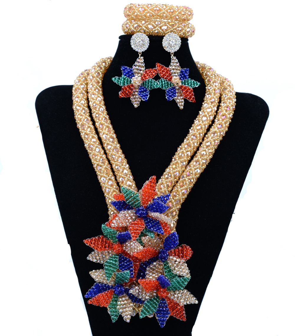 Crystal Flower handmade Perticular Seed Crystal necklace beads Multi color earrings nigerian wedding african beads jewelry set