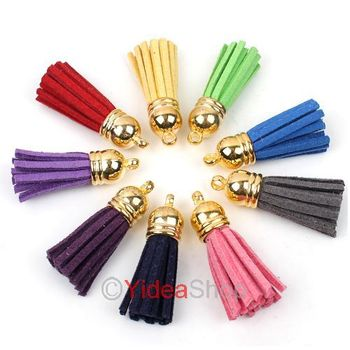 Wholesale - 100pcs Handmade Leather Tassel Charms Cell Mobile Phone Straps Accessories 130250