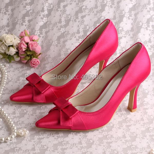 Здесь можно купить  (13 Colors)New Arrival Hot Pink Heels Satin Bow Shoes for Wedding Party Material Satin Free Shipping  Обувь