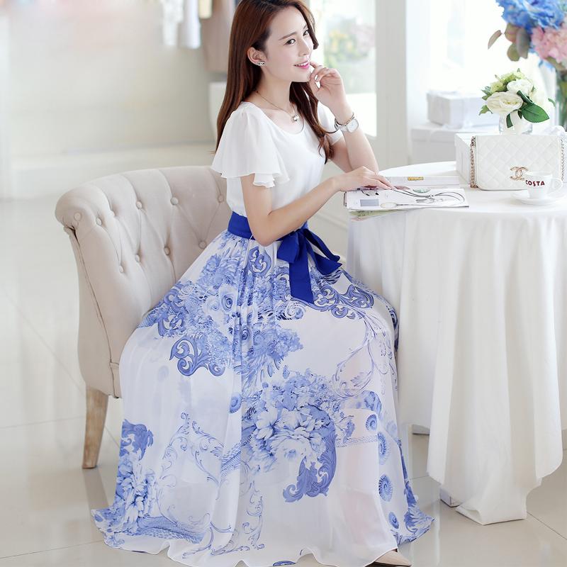 2015 summer new large size women's temperament blue and white print dress Slim thin waist chiffon elegant charming dress(China (Mainland))