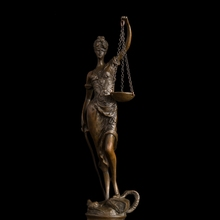 Famous Europe Bronze Sculpture Small Lady Scales of Justice Lawyer Statue Bronze Art Crafts  Replica Bronzes CZS-121(China (Mainland))