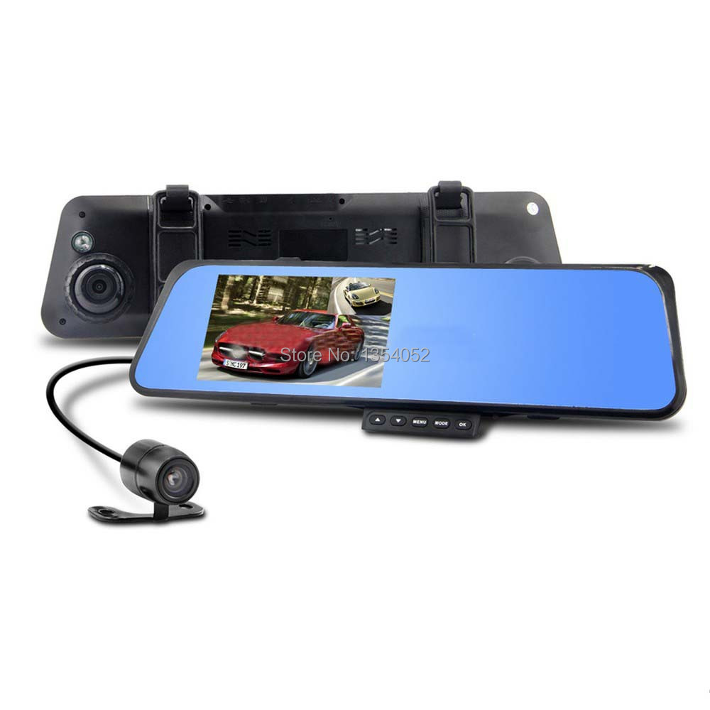"""4.3"""" LCD FHD 1080P 4 x Digital Zoom Double Lens IR Night Vision Wide Angle Daul Rearview Mirror Vehicle Traveling Data Recorder(China (Mainland))"""