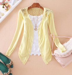 2015 Hot Fashion Women Cardigan Sale Lace Sweet Candy Pure Color Slim Crochet Knit Blouse Sweater Boiling 2015 Company Limited(China (Mainland))