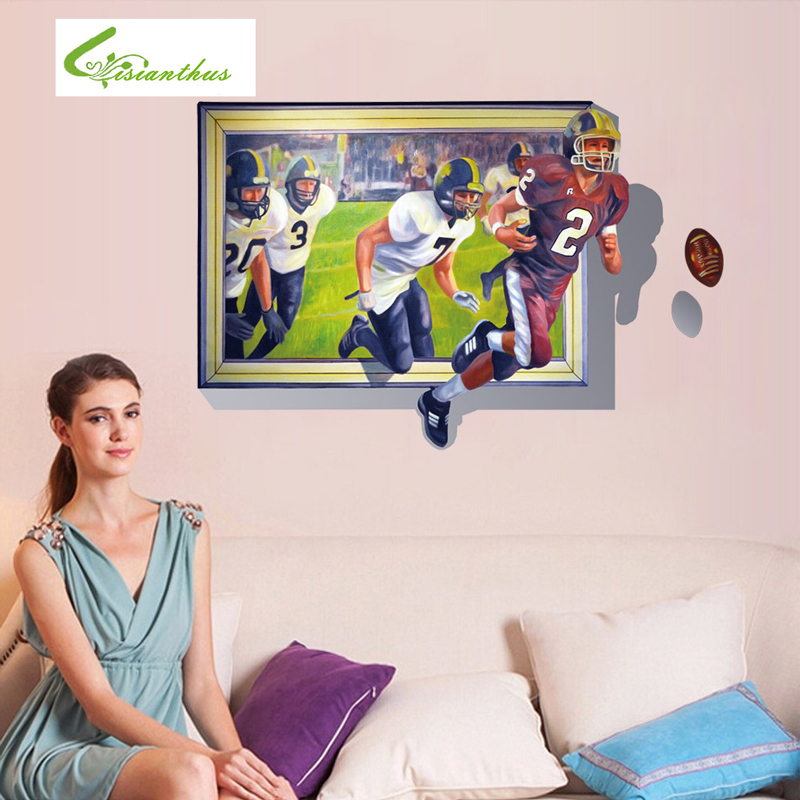 Hot Sale Rugby Wall Stickers 3D Creative Home Decor American Football Wall Murals Living Room PVC Stickers Free Shipping(China (Mainland))