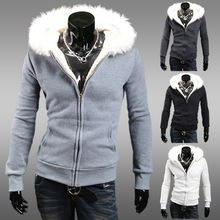 Plus Size Winter 2015Hoodies Man Brand Faux Fur Sport Suit Slim Hooded Full Sleeve Warm Solid Causal Sweatshirt Hoody 0630(China (Mainland))