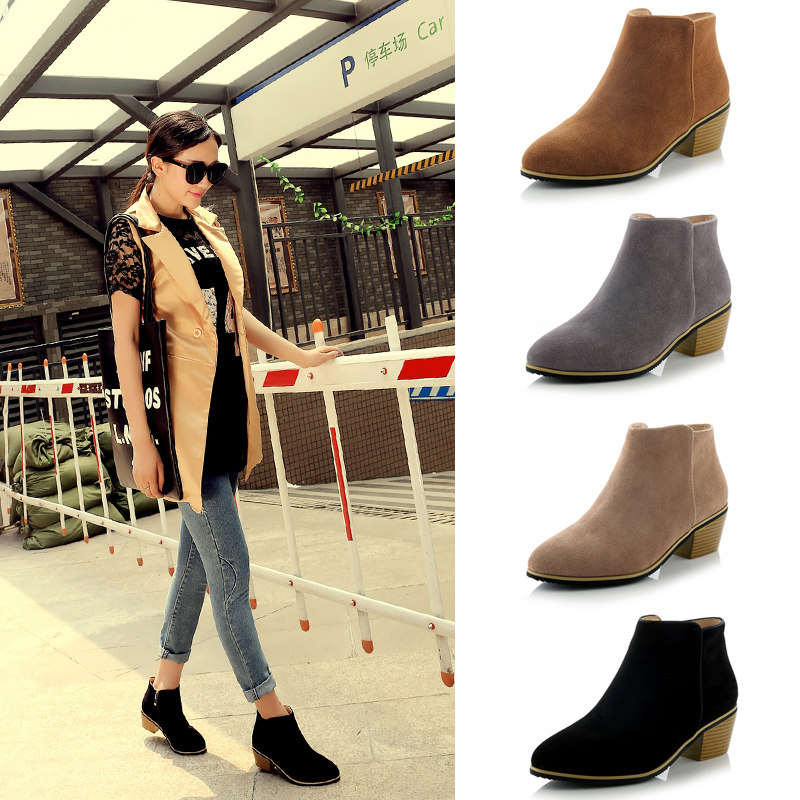 free shipping Classic boots Really rough leather high-heeled shoes Ladies short boots Black grey yellow apricot Women's Boots(China (Mainland))