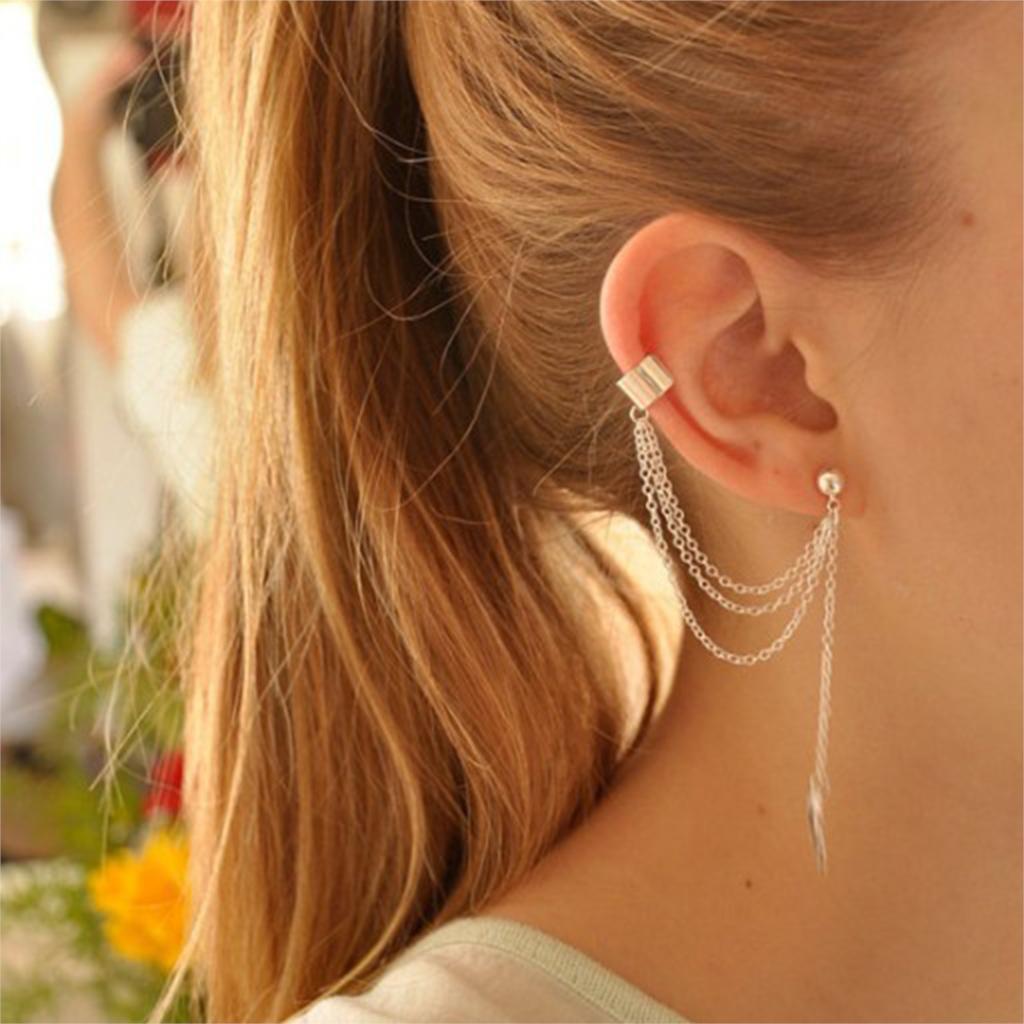 1PCS New Fashion Leaf Tassel Ear Clip Long Dangle Earrings For Women(China (Mainland))