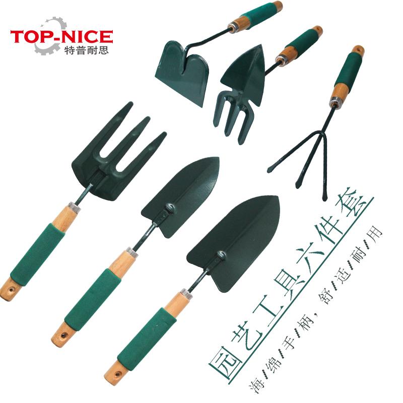 Garden supplies tools combination shovel spade rake wood for Gardening tools 6 letters