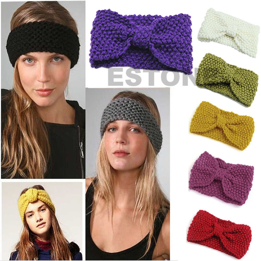 18 Colors Women's Chic Crochet Flower Bow Knitted Headwrap Ear Warmer Headband(China (Mainland))