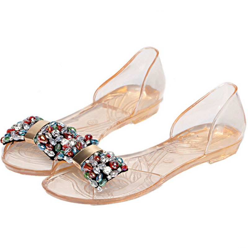 Wholesale HOt 2016 Newest Transparent crystal jellies sandals women Summer new PVC flat fish mouth shoes fashion beaded shoes(China (Mainland))