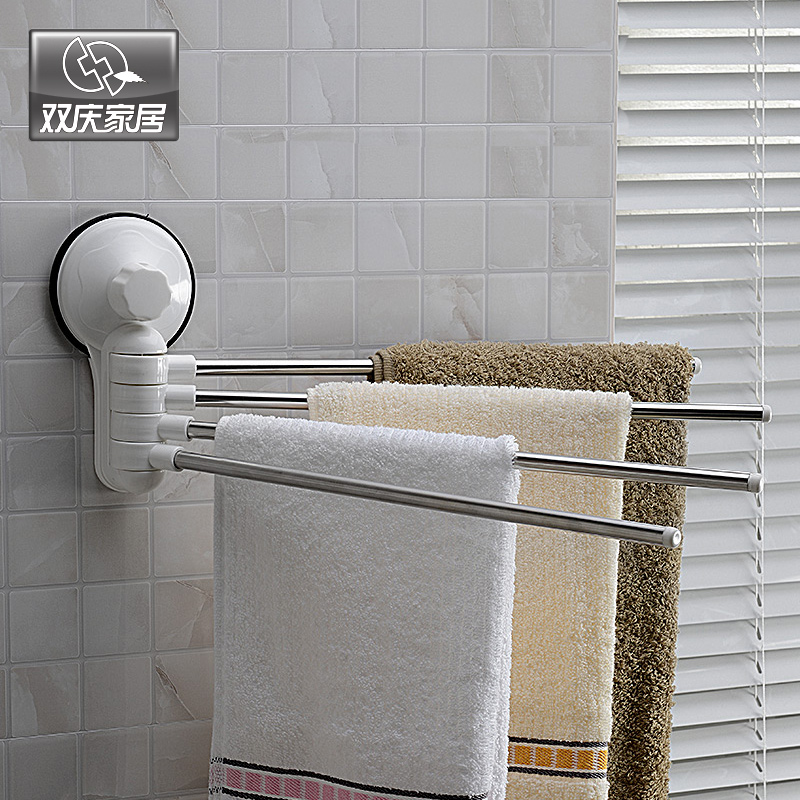 strong suction cup towel hanging stainless steel rod towel rack rotating bathroom sucker adhesive towel bar(China (Mainland))