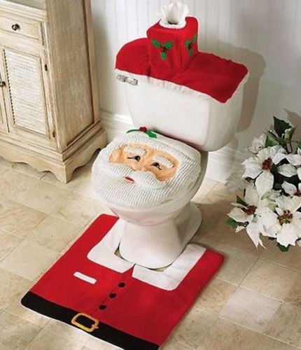 New Best Happy Santa Toilet Seat Cover & Rug Bathroom Set Christmas Decorations(China (Mainland))