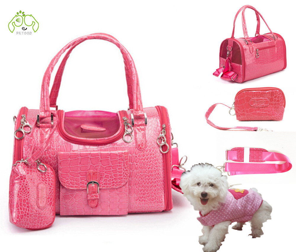 Pet Carrier Bag Purse For Dog Cat Faux Crocodile Leather travel Carrying Cat Bags Slings Soft Cage Aline Safe Car Bag Pink(China (Mainland))