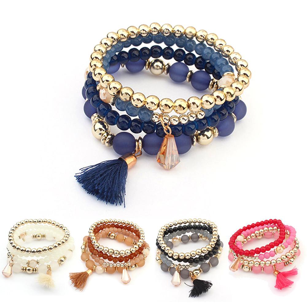 2016 Women Women Multilayer Beads Bangle Bracelets Jewelry Wrist Gift(China (Mainland))