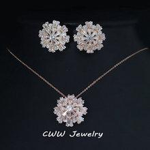 CWWZircons Design Lebendige Blume Damen Schmuck Rose Gold Farbe Zirkonia Gepflastert Mode Schmuck Sets Für Frauen T181(China)