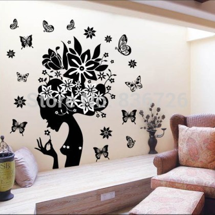 PVC Waterproof Wall Stickers Pure Black Floral Fairy Posters Hot Girl Butterfly Mural Bedroom Accessories adesivo parede(China (Mainland))